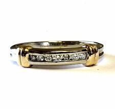14k white & yellow gold womens round .10ct diamond wedding band 2.1g estate 4