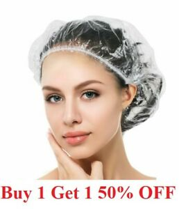 USA! 100pcs Disposable Hotel Home Shower Bathing Clear Hair Elastic Caps Hats