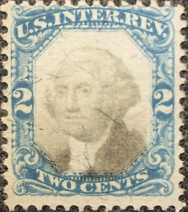 Scott #R104 US 1871 2 Cent Washington Internal Revenue Stamp