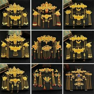 Traditional Chinese Hair Accessories Set Copper Vintage Tiara Headpiece Ornament