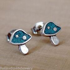 Turquoise Mushroom Post Earrings - 925 Sterling Silver - Studs Shroom Alice NEW