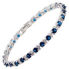 Fashion Jewelry Round Cut Blue Sapphire Tennis Statement Fashion Bracelet