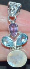 Multi Colgante Piedra Preciosa Plata De Ley Luna Topacio Azul Amatista 92