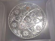 "Vintage Anchor Hocking 13 1/2"" Star of David Crystal Glass Round Plate Platter"