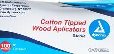 """Dynarex 4305 Cotton Tipped Wood Applicators 6"""" 2/Pouch 100-pouches/box QTY 10bxs"""
