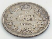 1910 Canada Five 5 Cent Small Silver Circulated Canadian Edward VII Coin J567