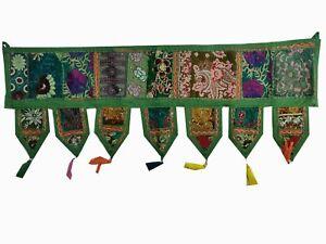 Indian Green Vintage Patchwork Toran 1 Meter Door Hanging Ethnic Wall Decor Gift