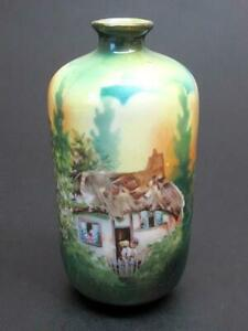 Rs Prussia Cottage Scene Bud Vase c1880's a/f