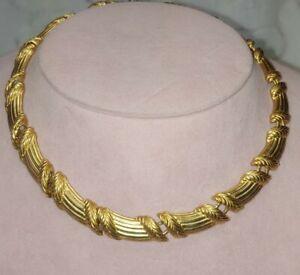 Vintage LIZ CLAIBORNE Matte Gold Tone Chain Link Choker Statement Necklace