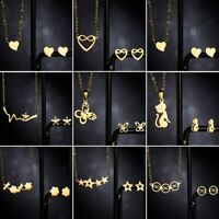 Charm Stainless Steel Women Heart Cat Gold Chain Necklace Earrings Jewelry Set