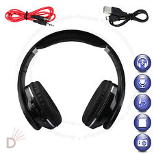 Foldable Bluetooth Black Headset Wireless Stereo Headphone Built-in Mic TF UKDC