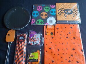 Halloween-Black/Orange Party Range -Plates,Napkins,Confetti,Straw(small postage)