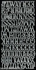 SCRIPT SILVER ALPHABET LETTERS  FONT PAPER FOIL DRESDEN GERMAN ORNATE LABEL NAME