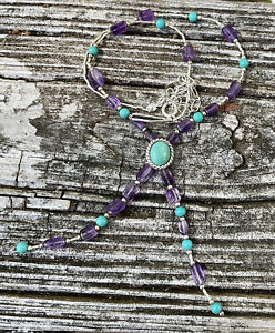 CAROLYN POLLACK STERLING 925 TURQUOISE AMETHYST SOUTHWEST LARIAT NECKLACE