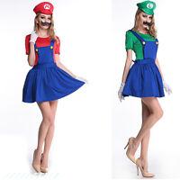 Sexy Ladies Super Mario&Luigi Fancy Dress Costume Women Hen Party Night UK8-14