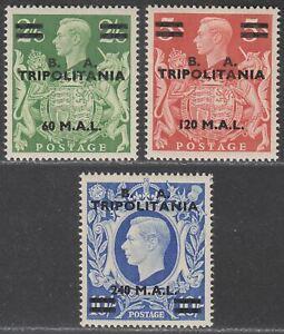 BOIC Tripolitania 1950 KGVI BA Surcharge 60l, 120l, 240l Mint SG T24-T26 c £119