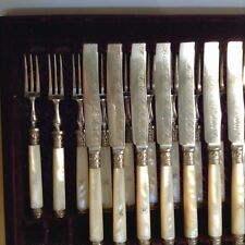 Antique Sheffield Silver & Mother-of-Pearl Dessert Knives & Forks, Set of 24