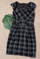 Oasis Black/White Check Dress UK10 Pencil Cowl Neck Asymmetric Neckline Pockets