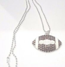 Rhinestone Bling Large Football Pendant Ball Chain Necklace