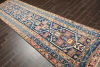 "3'6"" x 13'7"" Antique Runner Hand Knotted Wool Malayar Oriental Area Rug Blue"