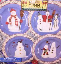 Debbie Mumm Sakura Snowman Dessert Plates Oneida Winter Christmas Set of 4 New