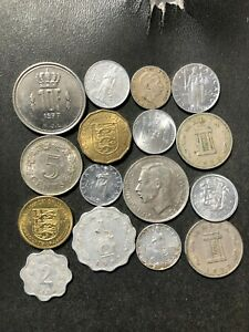 TINY EUROPEAN Nations Coin Lot - 1901-Present - 16 Coins - Lot #O2