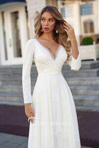 Elegant Chiffon Sheath Long Sleeve Appliqued Bridal Gown - Size 6