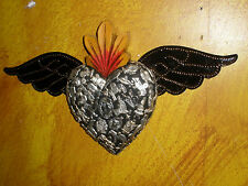 "Winged Sacred Heart #2-Milagros-Mexican Folk Art-12x7-""Miracles""-Sagrado Corazon"