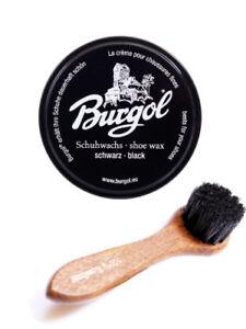 Burgol Schuhwachs schwarz 100 ml mit Auftragsbürste - Rosshaar