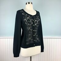 Size Medium M J Jill Black Alpaca Blend Lace Front Button Up Cardigan Sweater