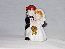 "Vintage Wedding Cake Topper Figurine Bride Groom Ceramic blonde brunette 4"" tall"