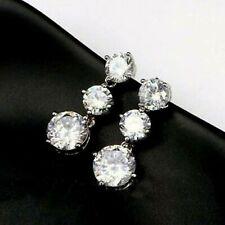 14K White Gold Over Round Cut 2.40CT Diamond 3-Stone Drop Dangle Stud Earrings