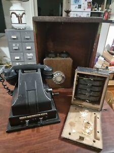 Vintage Black Bakelite internal Telephone plus other phone  used