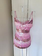 Ladies, Pink Glitter Crochet Knitted Camisole Top, Size 10/12