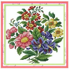 Flower Bouquet Handmade Needlework Counted Cross Stitch Embroidery Kit 14CT Hot