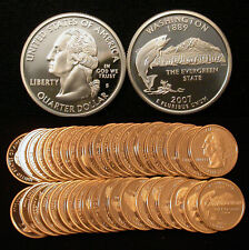 Roll of 40 2007-S Proof Washington State 90% Silver Quarters