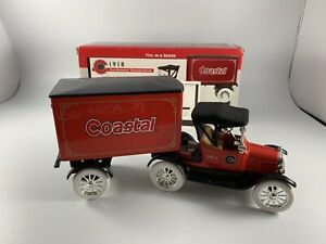 COASTAL 1918 FORD RUNABOUT TRACTOR-TRAILER DIE-CAST METAL BANK NIB FREE SHIPPING