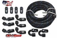 30FT AN6 Black Nylon PTFE E85 Fuel Line 12 Fittings Hose End Ethanol Kit