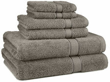 Grey Bathroom Towel Set Gray Thick 100% Egyptian Cotton 6pc Bath NEW Wash Cloth