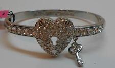Betsey Johnson Iconic Crystal Pave Silver Tone Heart Hinged Bangle Bracelet $48