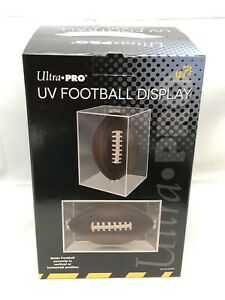 Ultra Pro Football Display Case W/ Cradle UV Protected Square Ball Holder New!