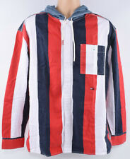 TOMMY HILFIGER Men's Stripe Hooded RELAXED Shirt, Cotton, size Large