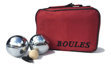 Set of 6 Alloy Chrome Plated Boules Petanque - Premium Steel Boules in Red Bag