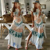 Women's Sexy Loose Maxi Dress Lady Short Sleeve Casual Print Ball Gown Dresses