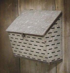 Farm BIN WALL STORAGE ORGANIZER Galvanized FARM Wall Pocket Farmhouse Mail Box