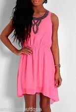 ☞ ♛ Lovely Pink Neon embellished skater chiffon dress ♛