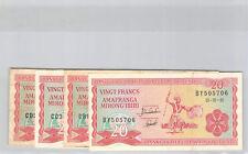Burundi Lot de quatre 20 Francs 1.10.1991 Alphabet BY - CB - CC - CD Pick 27c