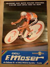 original vintage poster Francesco Moser 48x69cm world record 1988 ambrosio track