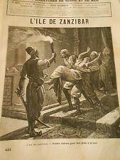 Gravure 1885 - L'Ile de Zanzibar Femme enlevée pour être jetée en mer