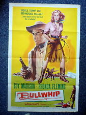 BULLWHIP Original 1950s One Sheet Movie Poster Rhonda Fleming